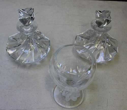 LALIQUE, France. Signed Decanters and a Vase.