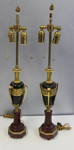 Pair of Patinated and Gilt Bronze Urn Form Lamps
