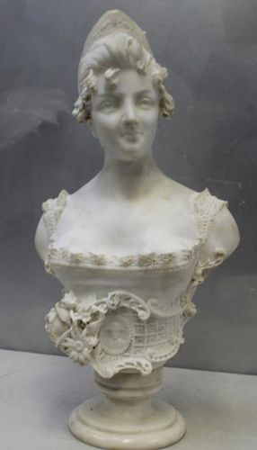 Antique Marble Bust of a Beauty on Pedestal Base.