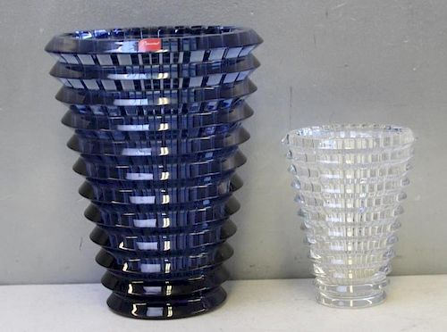 """BACCARAT. Midnight Blue & Clear Glass """"EYE"""" Vases"""