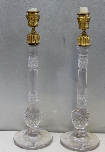Pair of Cut Glass Candlesticks with Bronze Tops.
