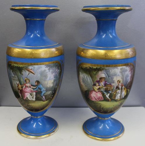 Large and Impressive Pair of Sevres Gilt and Paint