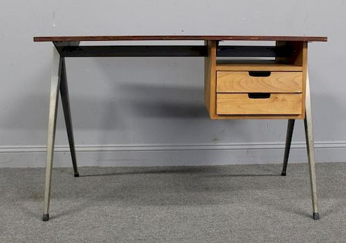 Midcentury Wood Desk With Metal Legs By Clarke Auction 976878