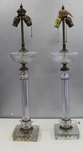 BACCARAT. Pair of Column Form Glass and Gilt Metal