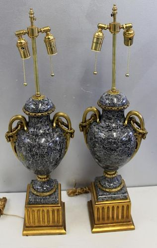 Large and Impressive Pair of Bronze Mounted Marble