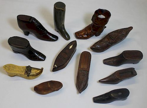 Collection of Antique Snuff Shoe Boxes.