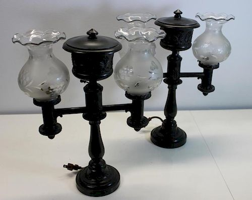 PAIR of Argand Lamps with Etched Glass Shades.