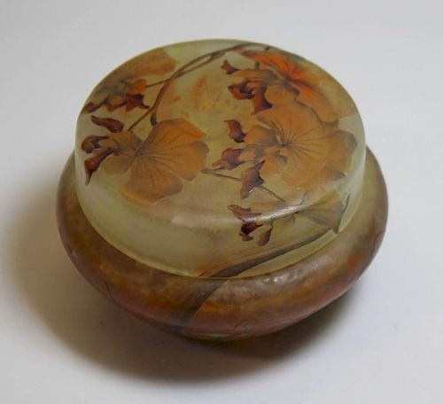 Daum Nancy Cameo Glass Covered Powder or Dresser