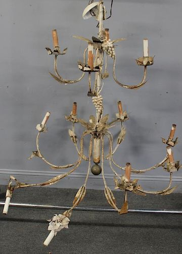 Large 19 Cent French Tole Chandelier.