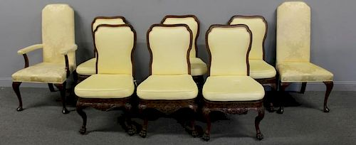 6 Antique English Carved and Upholstered Chairs