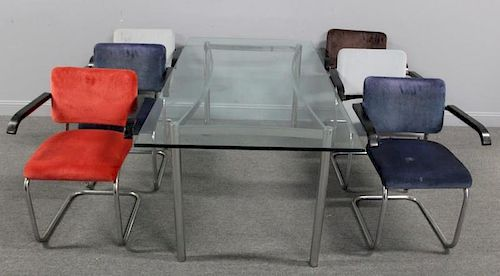MIDCENTURY. 6 Chrome Chairs and A Glass Top Table