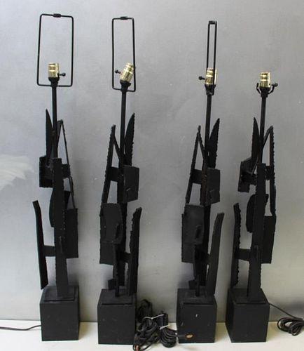 BAUMER. Set of 4 Brutalist Metal Lamps.