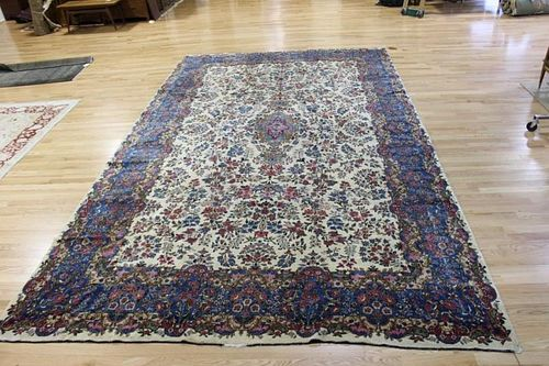 Large and Finely Woven Antique Kirman Carpet .