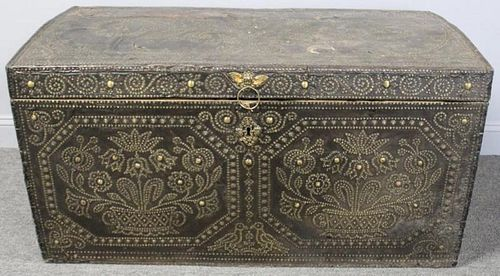 Antique Continental Leather Dowry Trunk With