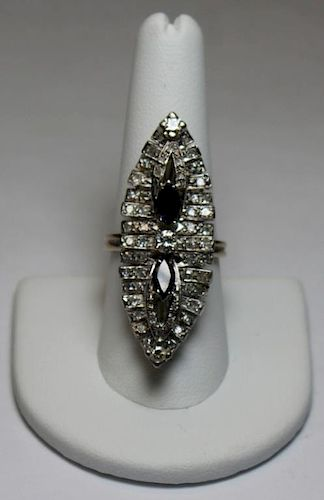 JEWELRY. 14kt White Gold Diamond and Sapphire Ring