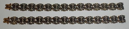 JEWELRY. Pair of Antique 18kt Gold, Enamel, and