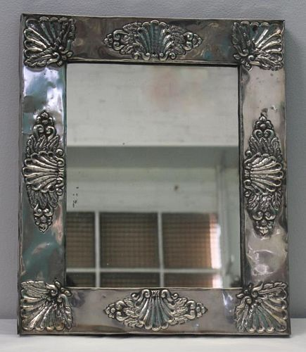 SILVER. .900 Silver Framed Mirror with Shell Motif