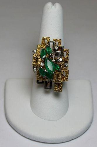 JEWELRY. Modernist 18kt Gold, Emerald and Diamond