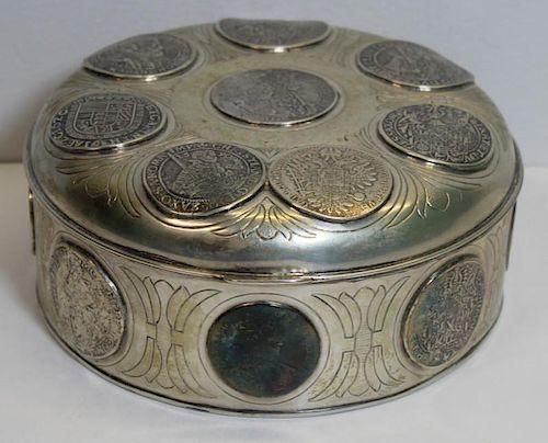 SILVER. Continental Coin Inlaid Silver Box.