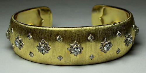 JEWELRY. Buccellati 18kt Gold and Diamond Cuff