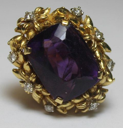 JEWELRY. 18kt Gold, Amethyst, and Diamond Cocktail