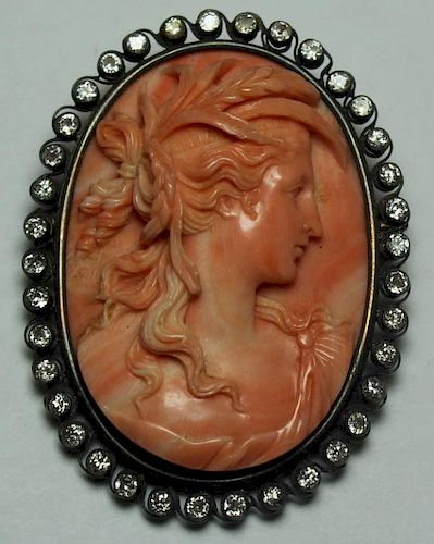 JEWELRY. Magnificent Carved Coral Brooch of a