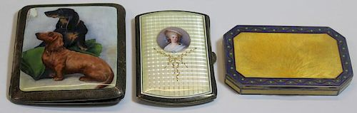 SILVER. Grouping of Enamel Decorated Boxes.