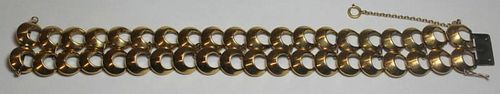 JEWELRY. 14kt Gold Openwork Double Band Bracelet.