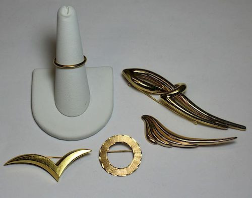 JEWELRY. Assorted Gold Including Tiffany.