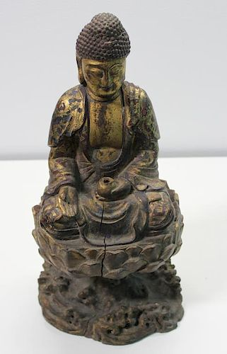 Antique South East Asian Wooden Gilded Buddha.