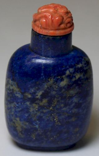 Lapis Lazulis and Carved Hardstone Snuff Bottle.