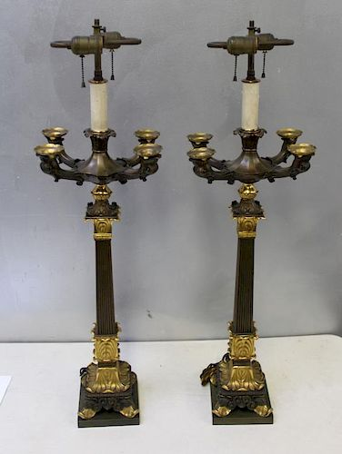 Large and Impressive Pair of Gilt and Patinated