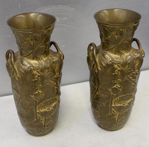 A.Vibert. Signed Pair of Bronze Art Nouveau Vases.