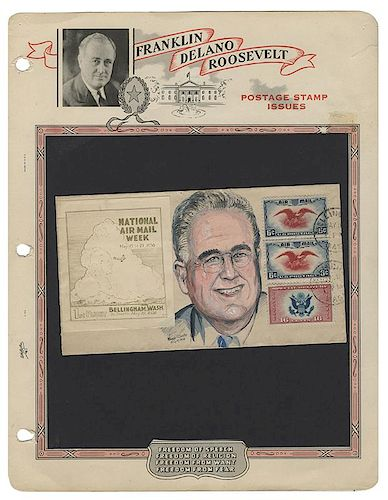 "Original Cartoon Artwork of FDR, from the President's Own ""Bouquets & Brickbats"" Collection."