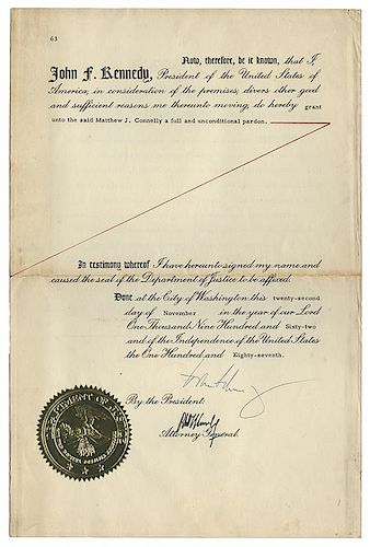 Presidential Pardon Signed by John F. Kennedy.
