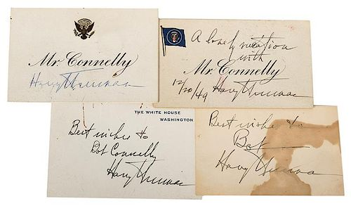 Four Harry S. Truman Signed Cards.