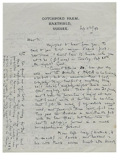 """Lot of Two Autograph Letters Signed """"A.A. Milne"""" and """"Blue"""" to Vincent Seligman."""