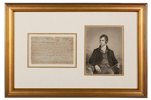 Robert Burns Signed Document, as Exciseman.