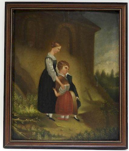 Edward Ingersoll Folk Mourners Memorial Painting