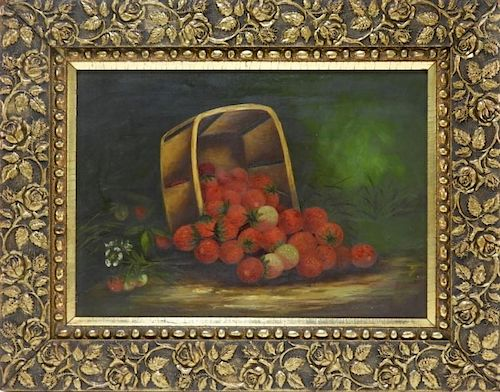 American Victorian Still Life Strawberry Painting