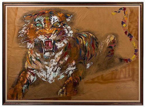 Neiman, Leroy. Tiger. Large Original Oil Painting.