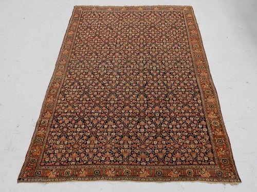C.1890 Persian Senneh Wool & Silk Carpet Rug