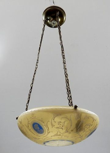American Classical Glass Enamel Dome Chandelier