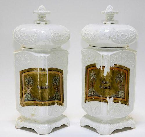 18C. English Salt Glazed Covered Apothecary Jars