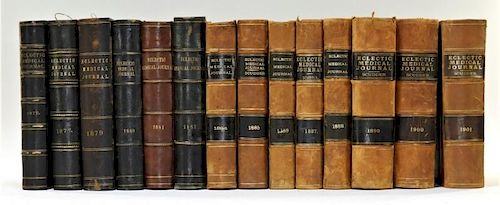14 19C Eclectic Medical Journal Leatherbound Books