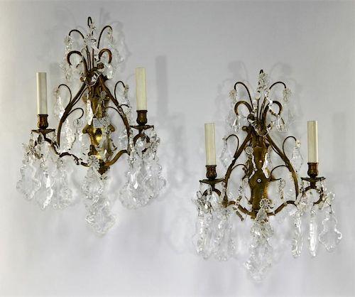 PR European Art Nouveau Brass & Crystal Sconces