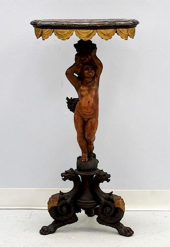 FINE 18C Italian Carved Walnut Figural Table Stand