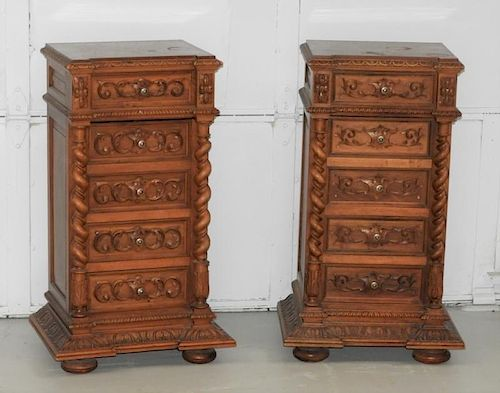 PR French Carved Fruitwood Marble Top Side Tables