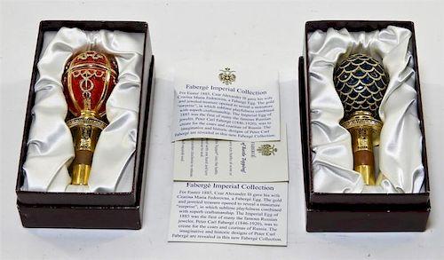 2 German Faberge Enamel Wine Bottle Stopper Corks