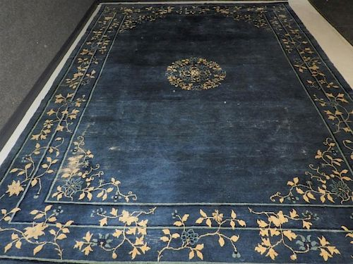 Chinese Art Deco Blue & Ivory Floral Rug Carpet